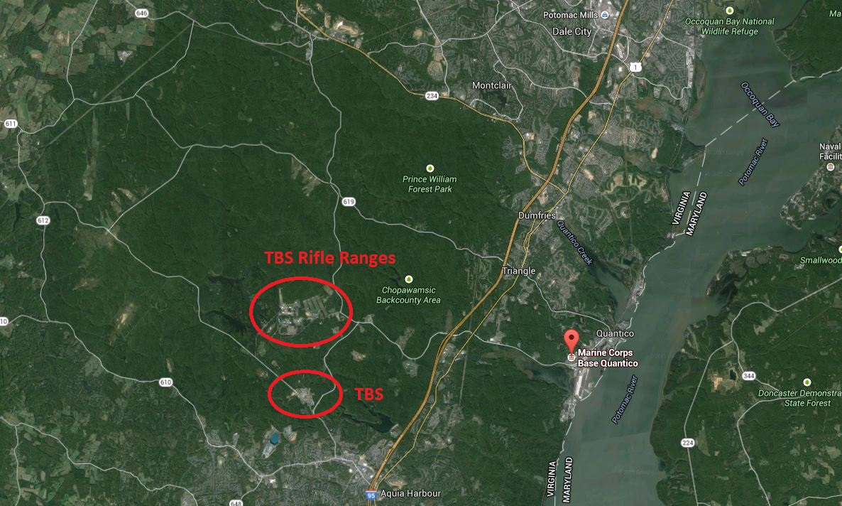 The Basic (TBS) Map of Camp Barrett, Quantico on
